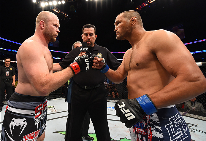 NEW ORLEANS, LA - JUNE 06:   (L-R) Tim Boetsch and Dan Henderson face off in their middleweight bout during the UFC event at the Smoothie King Center on June 6, 2015 in New Orleans, Louisiana. (Photo by Josh Hedges/Zuffa LLC/Zuffa LLC via Getty Images)