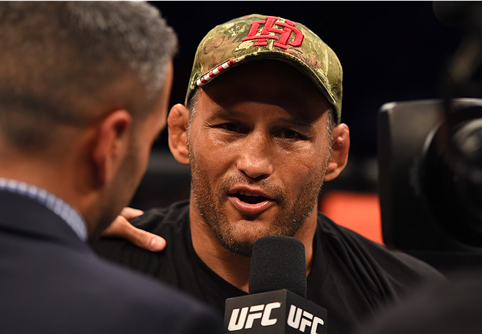 NEW ORLEANS, LA - JUNE 06:   Dan Henderson celebrates his victory over Tim Boetsch in their middleweight bout during the UFC event at the Smoothie King Center on June 6, 2015 in New Orleans, Louisiana. (Photo by Josh Hedges/Zuffa LLC/Zuffa LLC via Getty I