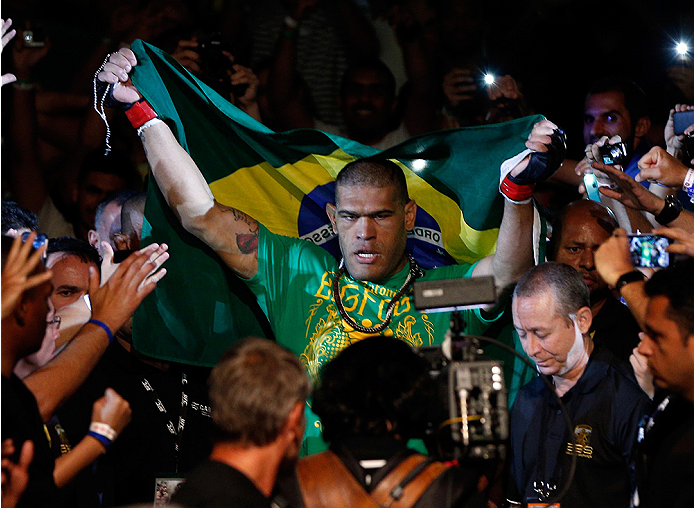 BRASILIA, BRAZIL - SEPTEMBER 13: Antonio ''Bigfoot'' Silva of Brazil enters the arena before his heavyweight bout against Andrei Arlovski of Belarus during the UFC Fight Night event inside Nilson Nelson Gymnasium on September 13, 2014 in Brasilia, Brazil.