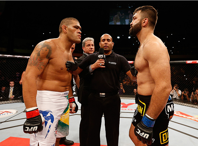 "BRASILIA, BRAZIL - SEPTEMBER 13:  (L-R) Opponents Antonio ""Bigfoot"" Silva of Brazil and Andrei Arlovski of Belarus face off before their heavyweight bout during the UFC Fight Night event inside Nilson Nelson Gymnasium on September 13, 2014 in Brasilia, Br"