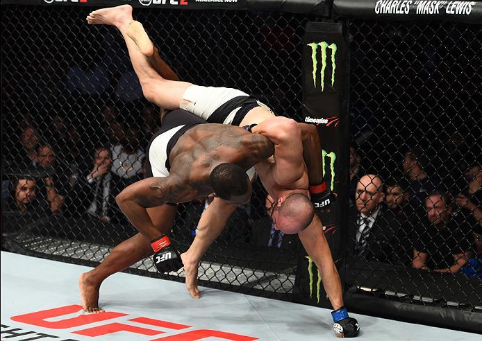 HOUSTON, TX - FEBRUARY 04:  (R-L) Ovince Saint Preux takes down Volkan Oezdemir of Switzerland in their light heavyweight bout during the UFC Fight Night event at the Toyota Center on February 4, 2017 in Houston, Texas. (Photo by Jeff Bottari/Zuffa LLC/Zu