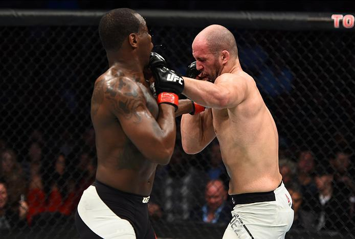HOUSTON, TX - FEBRUARY 04:  (R-L) Volkan Oezdemir of Switzerland exchanges punches with Ovince Saint Preux in their light heavyweight bout during the UFC Fight Night event at the Toyota Center on February 4, 2017 in Houston, Texas. (Photo by Jeff Bottari/