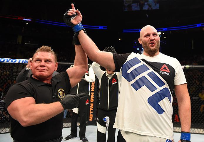 NEWARK, NJ - JANUARY 30:  Ben Rothwell celebrates his submission victory over Josh Barnett in their heavyweight bout during the UFC Fight Night event at the Prudential Center on January 30, 2016 in Newark, New Jersey. (Photo by Josh Hedges/Zuffa LLC/Zuffa