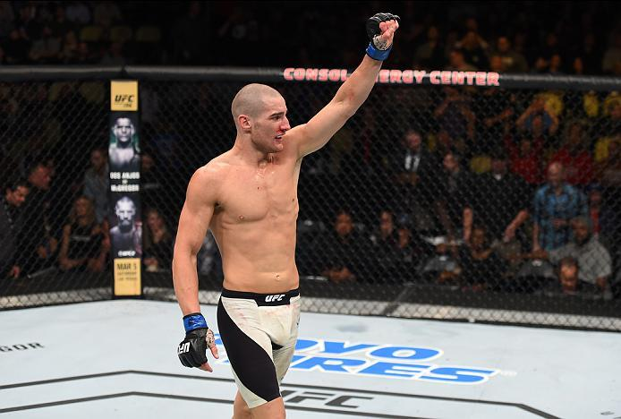 PITTSBURGH, PA - FEBRUARY 21:  Sean Strickland celebrates his victory over Alex Garcia in their welterweight bout during the UFC Fight Night event at Consol Energy Center on February 21, 2016 in Pittsburgh, Pennsylvania. (Photo by Jeff Bottari/Zuffa LLC/Z