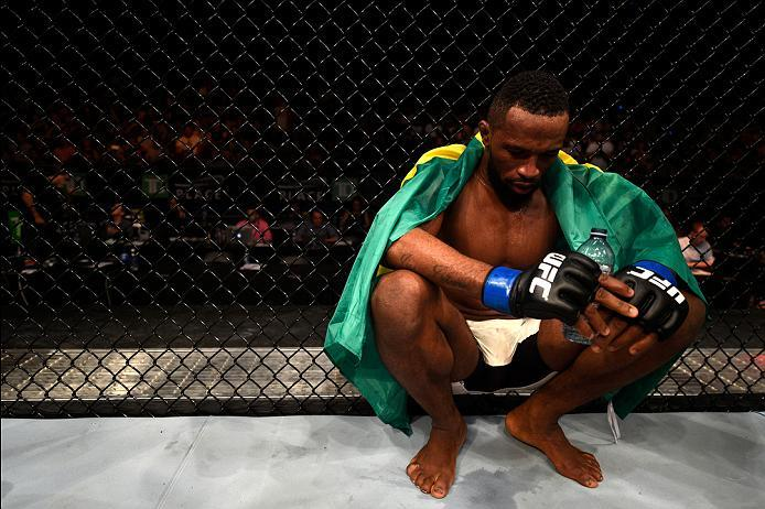 OTTAWA, ON - JUNE 18:   Leandro Silva of Brazil reacts to his loss to Jason Saggo of Canada in their lightweight bout during the UFC Fight Night event inside the TD Place Arena on June 18, 2016 in Ottawa, Ontario, Canada. (Photo by Jeff Bottari/Zuffa LLC/