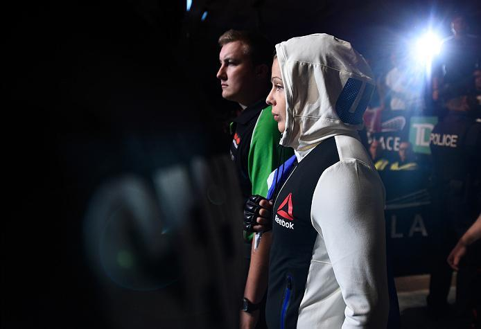 OTTAWA, ON - JUNE 18:   Joanne Calderwood of Scotland prepares to enter the Octagon before facing Valerie Letourneau of Canada in their women's flyweight bout during the UFC Fight Night event inside the TD Place Arena on June 18, 2016 in Ottawa, Ontario,