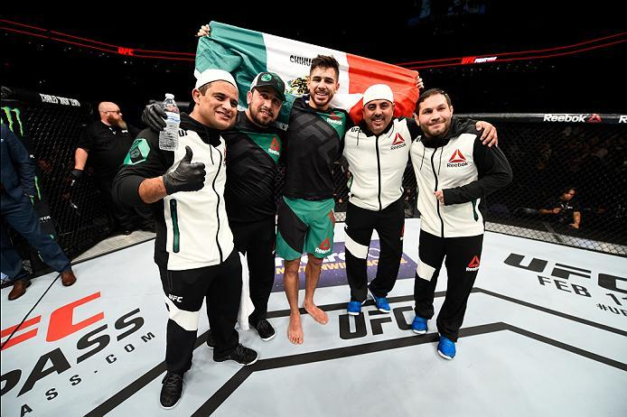 PHOENIX, AZ - JANUARY 15:  Yair Rodriguez celebrates his victory over BJ Penn in their featherweight bout during the UFC Fight Night event inside Talking Stick Resort Arena on January 15, 2017 in Phoenix, Arizona. (Photo by Jeff Bottari/Zuffa LLC/Zuffa LL