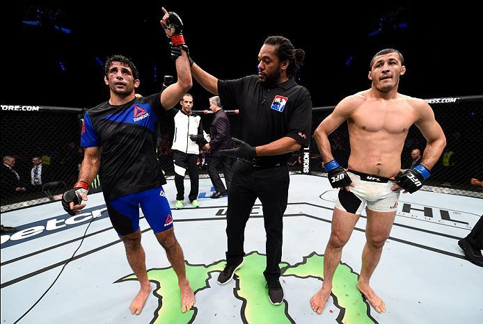 MEXICO CITY, MEXICO - NOVEMBER 05:  (R-L) Beneil Dariush of Iran celebrates his victory over Rashid Magomedov of Russia in their lightweight bout during the UFC Fight Night event at Arena Ciudad de Mexico on November 5, 2016 in Mexico City, Mexico. (Photo