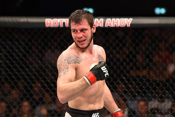 ROTTERDAM, NETHERLANDS - MAY 08:  Nikita Krylov celebrates his submission victory over Francimar Barroso in their light heavyweight bout during the UFC Fight Night event at Ahoy Rotterdam on May 8, 2016 in Rotterdam, Netherlands. (Photo by Josh Hedges/Zuf