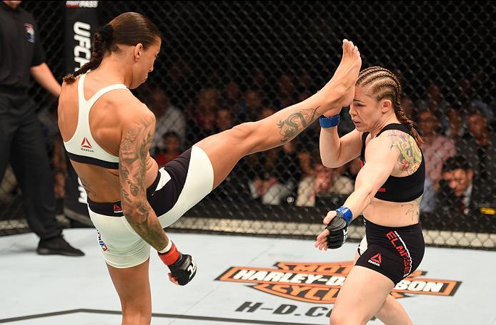 ROTTERDAM, NETHERLANDS - MAY 08:  (L-R) Germaine de Randamie kicks Anna Elmose in their women's bantamweight bout during the UFC Fight Night event at Ahoy Rotterdam on May 8, 2016 in Rotterdam, Netherlands. (Photo by Josh Hedges/Zuffa LLC/Zuffa LLC via Ge