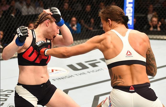 ROTTERDAM, NETHERLANDS - MAY 08:  (R-L) Germaine de Randamie punches Anna Elmose in their women's bantamweight bout during the UFC Fight Night event at Ahoy Rotterdam on May 8, 2016 in Rotterdam, Netherlands. (Photo by Josh Hedges/Zuffa LLC/Zuffa LLC via