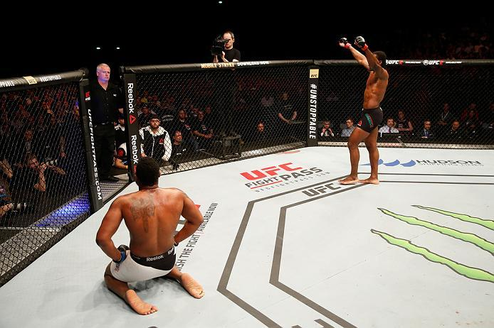 ZAGREB, CROATIA - APRIL 10:   (R-L) Francis Ngannou celebrates his victory over Curtis Blaydes in their heavyweight bout during the UFC Fight Night event at the Arena Zagreb on April 10, 2016 in Zagreb, Croatia. (Photo by Srdjan Stevanovic/Zuffa LLC/Zuffa