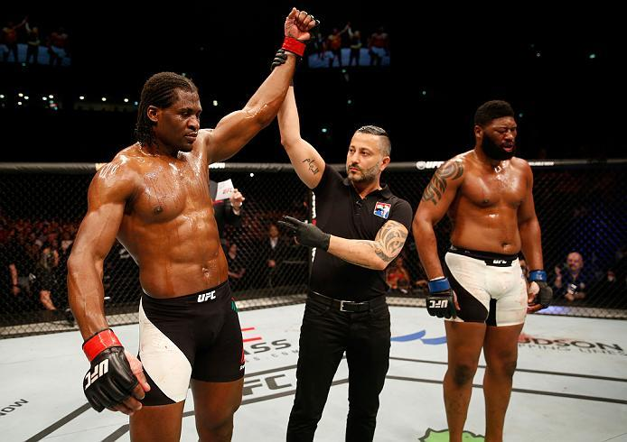 ZAGREB, CROATIA - APRIL 10:   (L-R) Francis Ngannou celebrates his victory over Curtis Blaydes in their heavyweight bout during the UFC Fight Night event at the Arena Zagreb on April 10, 2016 in Zagreb, Croatia. (Photo by Srdjan Stevanovic/Zuffa LLC/Zuffa