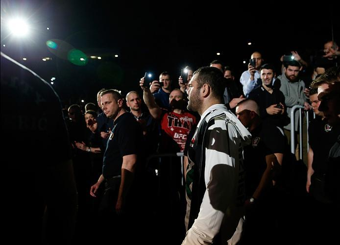 ZAGREB, CROATIA - APRIL 10:   Gabriel Gonzaga prepares to enter the Octagon before facing Derrick Lewis in their heavyweight bout during the UFC Fight Night event at the Arena Zagreb on April 10, 2016 in Zagreb, Croatia. (Photo by Srdjan Stevanovic/Zuffa