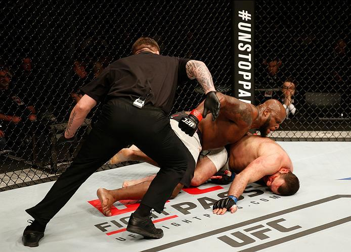 ZAGREB, CROATIA - APRIL 10:   Derrick Lewis (top) knocks out Gabriel Gonzaga in their heavyweight bout during the UFC Fight Night event at the Arena Zagreb on April 10, 2016 in Zagreb, Croatia. (Photo by Srdjan Stevanovic/Zuffa LLC/Zuffa LLC via Getty Ima