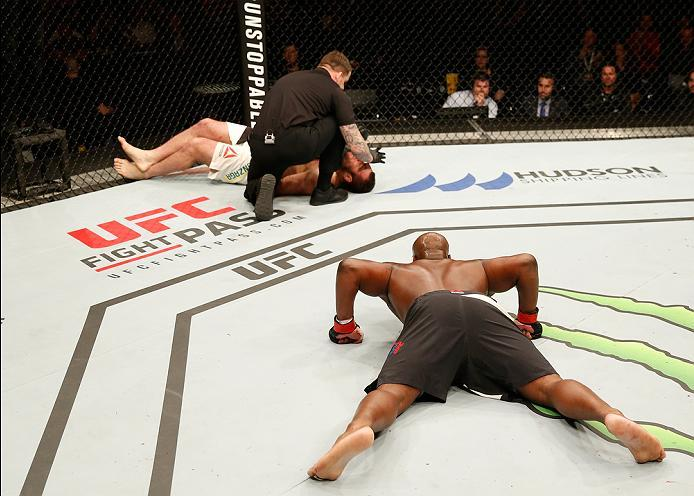 ZAGREB, CROATIA - APRIL 10:   (R-L) Derrick Lewis celebrates his knock out victory over Gabriel Gonzaga in their heavyweight bout during the UFC Fight Night event at the Arena Zagreb on April 10, 2016 in Zagreb, Croatia. (Photo by Srdjan Stevanovic/Zuffa