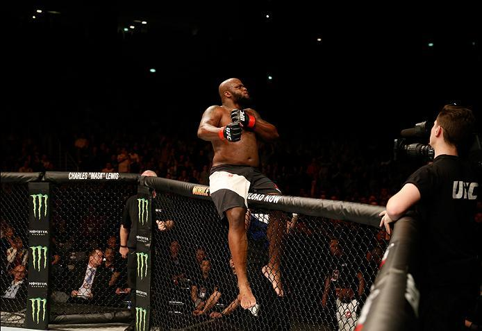 ZAGREB, CROATIA - APRIL 10:   Derrick Lewis celebrates his knock out victory over Gabriel Gonzaga in their heavyweight bout during the UFC Fight Night event at the Arena Zagreb on April 10, 2016 in Zagreb, Croatia. (Photo by Srdjan Stevanovic/Zuffa LLC/Zu