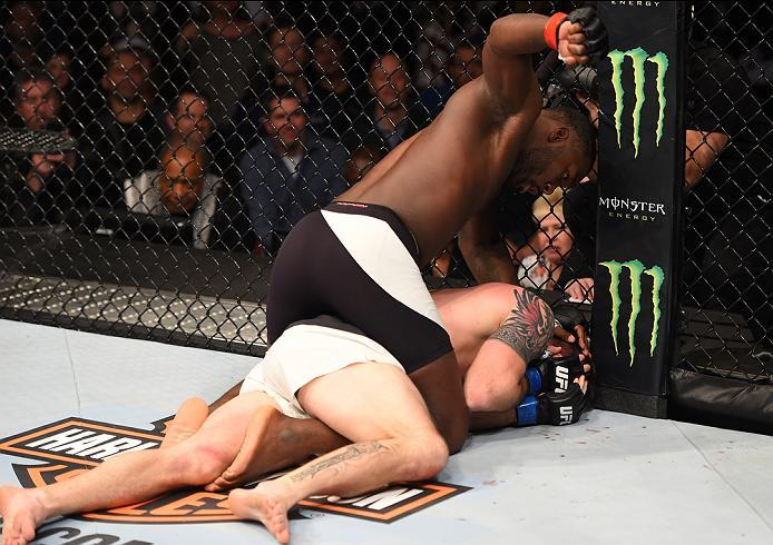 NEWARK, NJ - JANUARY 30:  Anthony Johnson (top) punches Ryan Bader in their light heavyweight bout during the UFC Fight Night event at the Prudential Center on January 30, 2016 in Newark, New Jersey. (Photo by Josh Hedges/Zuffa LLC/Zuffa LLC via Getty Ima
