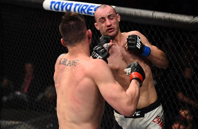 PITTSBURGH, PA - FEBRUARY 21:  (L-R) James Krause punches Shane Campbell in their lightweight bout during the UFC Fight Night event at Consol Energy Center on February 21, 2016 in Pittsburgh, Pennsylvania. (Photo by \2026405\/Zuffa LLC/Zuffa LLC via Getty