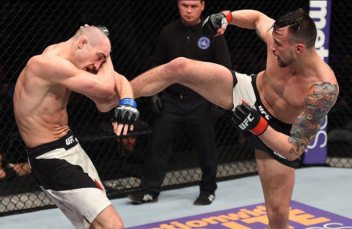 PITTSBURGH, PA - FEBRUARY 21:  (R-L) James Krause kicks Shane Campbell in their lightweight bout during the UFC Fight Night event at Consol Energy Center on February 21, 2016 in Pittsburgh, Pennsylvania. (Photo by \2026405\/Zuffa LLC/Zuffa LLC via Getty I