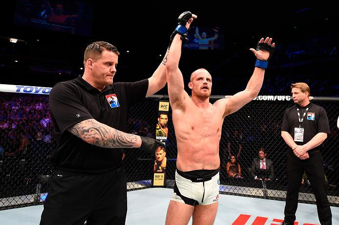 ROTTERDAM, NETHERLANDS - MAY 08:  Gunnar Nelson celebrates his submission victory over Albert Tumenov in their welterweight bout during the UFC Fight Night event at Ahoy Rotterdam on May 8, 2016 in Rotterdam, Netherlands. (Photo by Josh Hedges/Zuffa LLC/Z
