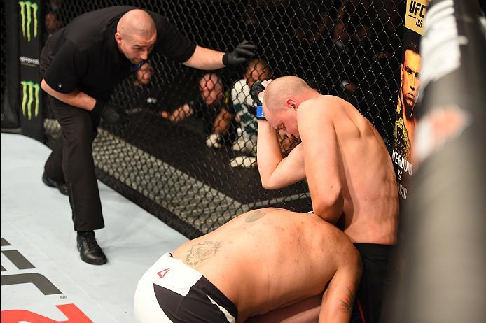 ROTTERDAM, NETHERLANDS - MAY 08:  (R-L) Stefan Struve elbows Antonio Silva in their heavyweight bout during the UFC Fight Night event at Ahoy Rotterdam on May 8, 2016 in Rotterdam, Netherlands. (Photo by Josh Hedges/Zuffa LLC/Zuffa LLC via Getty Images)