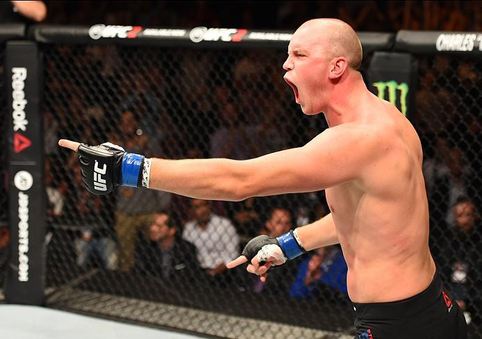 ROTTERDAM, NETHERLANDS - MAY 08:  Stefan Struve celebrates his TKO victory over Antonio Silva in their heavyweight bout during the UFC Fight Night event at Ahoy Rotterdam on May 8, 2016 in Rotterdam, Netherlands. (Photo by Josh Hedges/Zuffa LLC/Zuffa LLC