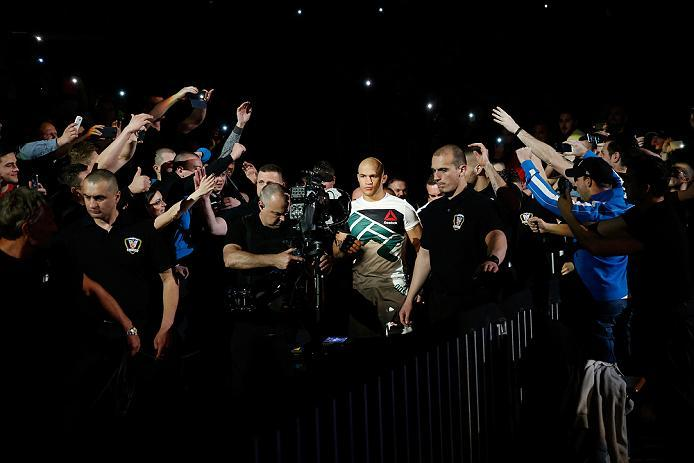 ZAGREB, CROATIA - APRIL 10:   Junior Dos Santos prepares to enter the Octagon before facing Ben Rothwell in their heavyweight bout during the UFC Fight Night event at the Arena Zagreb on April 10, 2016 in Zagreb, Croatia. (Photo by Srdjan Stevanovic/Zuffa