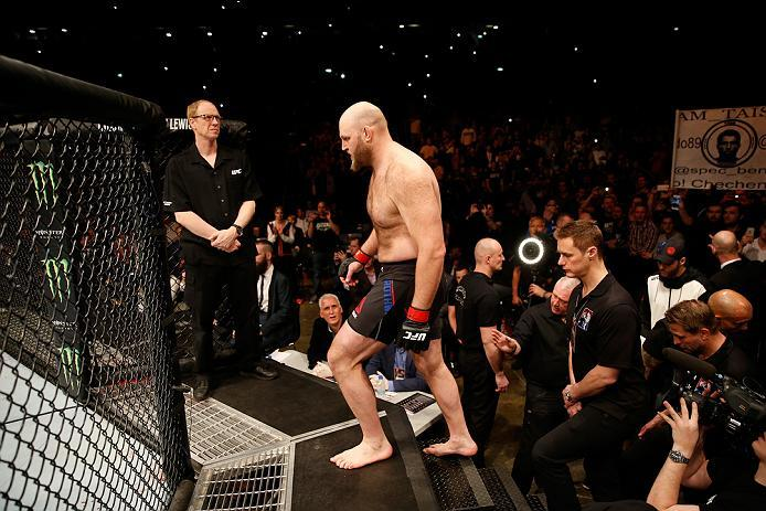 ZAGREB, CROATIA - APRIL 10:   Ben Rothwell prepares to enter the Octagon before facing Junior Dos Santos in their heavyweight bout during the UFC Fight Night event at the Arena Zagreb on April 10, 2016 in Zagreb, Croatia. (Photo by Srdjan Stevanovic/Zuffa