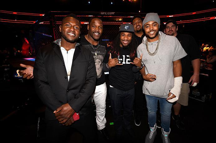 PITTSBURGH, PA - FEBRUARY 21: (L-R) Antonio Brown, Arthur Moats, DeAngelo Williams, Ramon Foster, Mike Mitchell, and Doug Legursky of the Pittsburgh Steelers pose for a photo during the UFC Fight Night event at Consol Energy Center on February 21, 2016 in