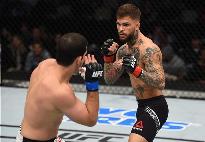 PITTSBURGH, PA - FEBRUARY 21:  (R-L) Cody Garbrandt circles Augusto Mendes in their bantamweight bout during the UFC Fight Night event at Consol Energy Center on February 21, 2016 in Pittsburgh, Pennsylvania. (Photo by Jeff Bottari/Zuffa LLC/Zuffa LLC via