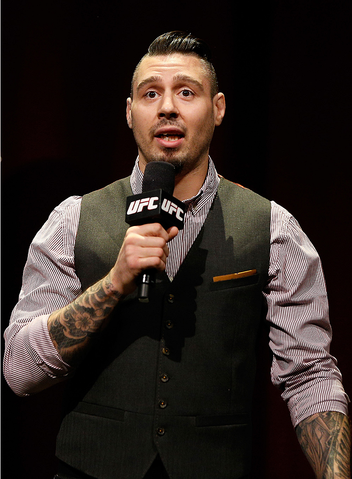 SYDNEY, AUSTRALIA - NOVEMBER 07:  UFC commentator Dan Hardy interacts with fans during a Q&A session before the UFC Fight Night weigh-in at the Allphones Arena on November 7, 2014 in Sydney, Australia. (Photo by Josh Hedges/Zuffa LLC/Zuffa LLC via Getty I