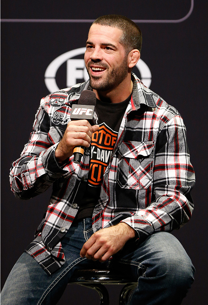 SYDNEY, AUSTRALIA - NOVEMBER 07: UFC welterweight Matt Brown interacts with fans during a Q&A session before the UFC Fight Night weigh-in at the Allphones Arena on November 7, 2014 in Sydney, Australia. (Photo by Josh Hedges/Zuffa LLC/Zuffa LLC via Getty