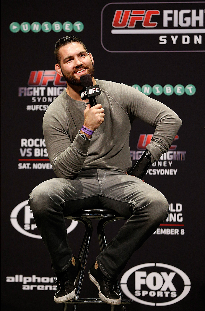 SYDNEY, AUSTRALIA - NOVEMBER 07: UFC middleweight Chris Weidman interacts with fans during a Q&A session before the UFC Fight Night weigh-in at the Allphones Arena on November 7, 2014 in Sydney, Australia. (Photo by Josh Hedges/Zuffa LLC/Zuffa LLC via Get