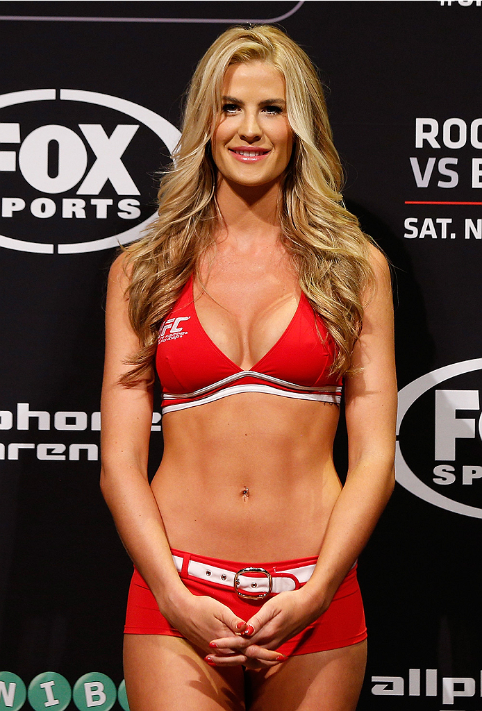 SYDNEY, AUSTRALIA - NOVEMBER 07:  UFC Octagon Girl Kristie McKeon-Pearson stands on stage during the UFC Fight Night weigh-in at the Allphones Arena on November 7, 2014 in Sydney, Australia. (Photo by Josh Hedges/Zuffa LLC/Zuffa LLC via Getty Images)