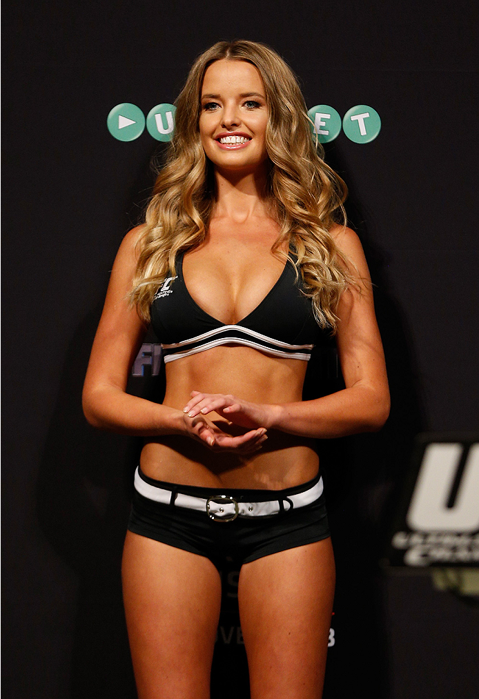 SYDNEY, AUSTRALIA - NOVEMBER 07:  UFC Octagon Girl Kahili Blundell stands on stage during the UFC Fight Night weigh-in at the Allphones Arena on November 7, 2014 in Sydney, Australia. (Photo by Josh Hedges/Zuffa LLC/Zuffa LLC via Getty Images)