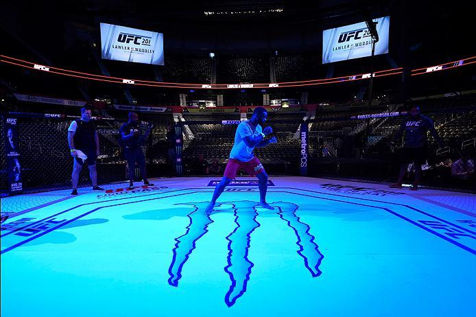 ATLANTA, GA - JULY 30:  Tyron Woodley warms up in the Octagon before the UFC 201 event on July 30, 2016 at Philips Arena in Atlanta, Georgia. (Photo by Jeff Bottari/Zuffa LLC/Zuffa LLC via Getty Images)