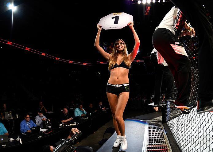 ATLANTA, GA - JULY 30:  UFC Octagon Girl Vanessa Hanson introduces the first round during the UFC 201 event on July 30, 2016 at Philips Arena in Atlanta, Georgia. (Photo by Jeff Bottari/Zuffa LLC/Zuffa LLC via Getty Images)