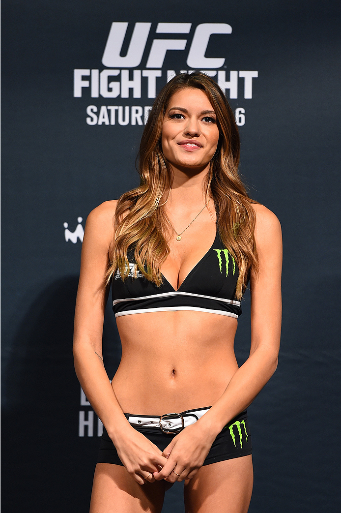 NEW ORLEANS, LA - JUNE 05:   UFC Octagon Girl Vanessa Hanson stands on stage during the UFC weigh-in at the Smoothie King Center on June 5, 2015 in New Orleans, Louisiana. (Photo by Josh Hedges/Zuffa LLC/Zuffa LLC via Getty Images)