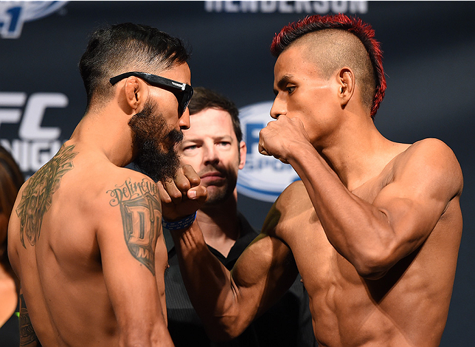 NEW ORLEANS, LA - JUNE 05:   (L-R) Opponents Jose Quinonez of Mexico and Leonardo Morales of Nicaragua face off during the UFC weigh-in at the Smoothie King Center on June 5, 2015 in New Orleans, Louisiana. (Photo by Josh Hedges/Zuffa LLC/Zuffa LLC via Ge