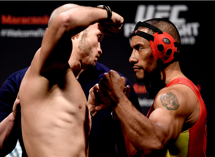 RIO DE JANEIRO, BRAZIL - MARCH 20: Bentley Syler  the USA and Fredy Serrano of Colombia face off during the UFC Fight Night Weigh-ins at Maracanazinho  on March 20, 2015 in Rio de Janeiro, Brazil.  (Photo by Buda Mendes/Zuffa LLC/Zuffa LLC via Getty Image