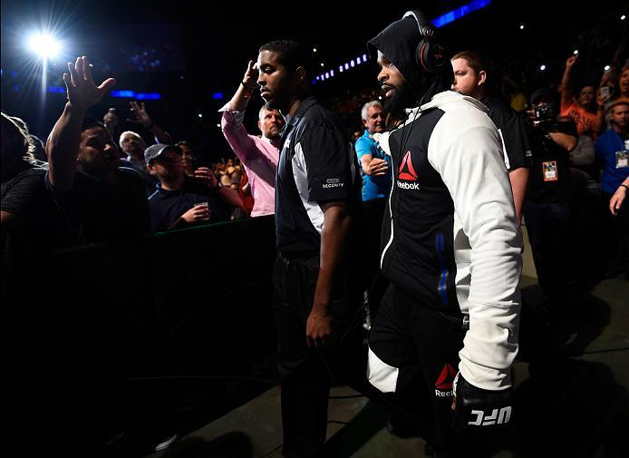 ATLANTA, GA - JULY 30:  Tyron Woodley prepares to enter the Octagon before facing Robbie Lawler  in their welterweight championship bout during the UFC 201 event on July 30, 2016 at Philips Arena in Atlanta, Georgia. (Photo by Jeff Bottari/Zuffa LLC/Zuffa