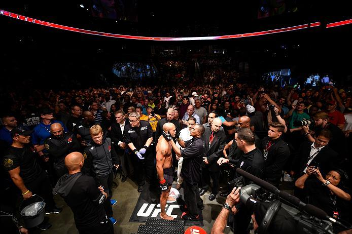 ATLANTA, GA - JULY 30:  Robbie Lawler prepares to enter the Octagon before facing Tyron Woodley in their welterweight championship bout during the UFC 201 event on July 30, 2016 at Philips Arena in Atlanta, Georgia. (Photo by Jeff Bottari/Zuffa LLC/Zuffa
