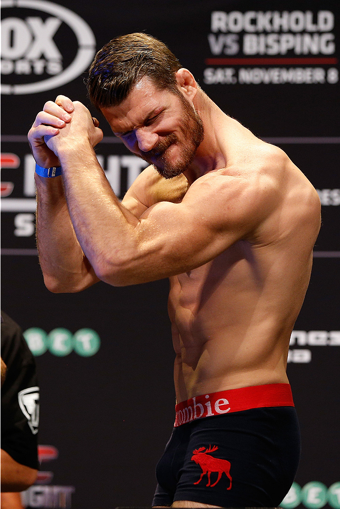 SYDNEY, AUSTRALIA - NOVEMBER 07:  Michael Bisping of England weighs in during the UFC Fight Night weigh-in at the Allphones Arena on November 7, 2014 in Sydney, Australia. (Photo by Josh Hedges/Zuffa LLC/Zuffa LLC via Getty Images)