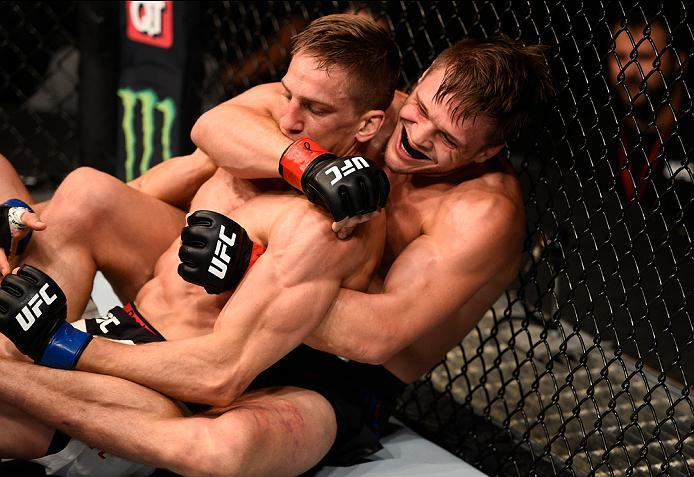 ATLANTA, GA - JULY 30:  (L-R) Michael Graves controls the body of Bojan Velickovic in their welterweight bout during the UFC 201 event on July 30, 2016 at Philips Arena in Atlanta, Georgia. (Photo by Jeff Bottari/Zuffa LLC/Zuffa LLC via Getty Images)