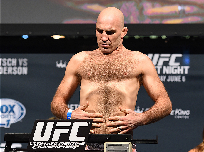 NEW ORLEANS, LA - JUNE 05:   Brian Ebersole weighs in during the UFC weigh-in at the Smoothie King Center on June 5, 2015 in New Orleans, Louisiana. (Photo by Josh Hedges/Zuffa LLC/Zuffa LLC via Getty Images)