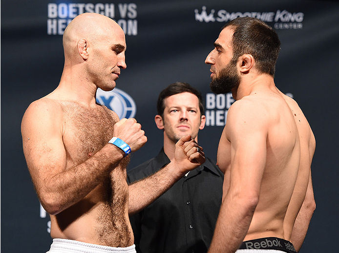 NEW ORLEANS, LA - JUNE 05:   (L-R) Opponents Brian Ebersole and Omari Akhmedov of Russia face off during the UFC weigh-in at the Smoothie King Center on June 5, 2015 in New Orleans, Louisiana. (Photo by Josh Hedges/Zuffa LLC/Zuffa LLC via Getty Images)