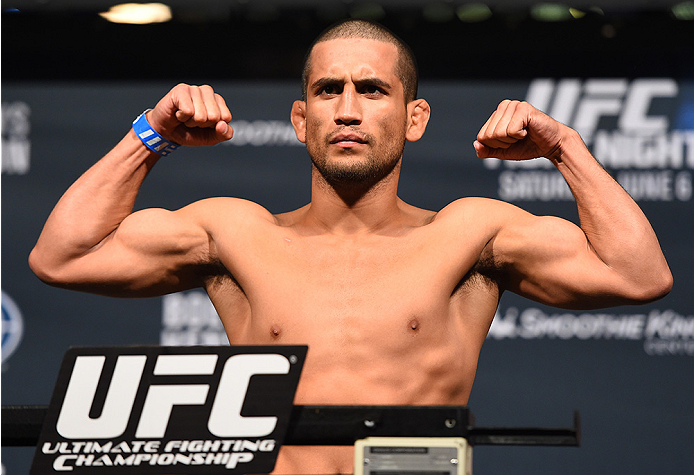 NEW ORLEANS, LA - JUNE 05:  Joe Soto weighs in during the UFC weigh-in at the Smoothie King Center on June 5, 2015 in New Orleans, Louisiana. (Photo by Josh Hedges/Zuffa LLC/Zuffa LLC via Getty Images)
