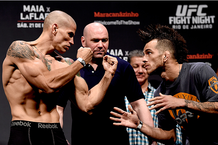 RIO DE JANEIRO, BRAZIL - MARCH 20: Leonardo Mafra (L) of Brazil and  Cain Carrizosa of the USA face off during the UFC Fight Night Weigh-ins at Maracanazinho  on March 20, 2015 in Rio de Janeiro, Brazil.  (Photo by Buda Mendes/Zuffa LLC/Zuffa LLC via Gett