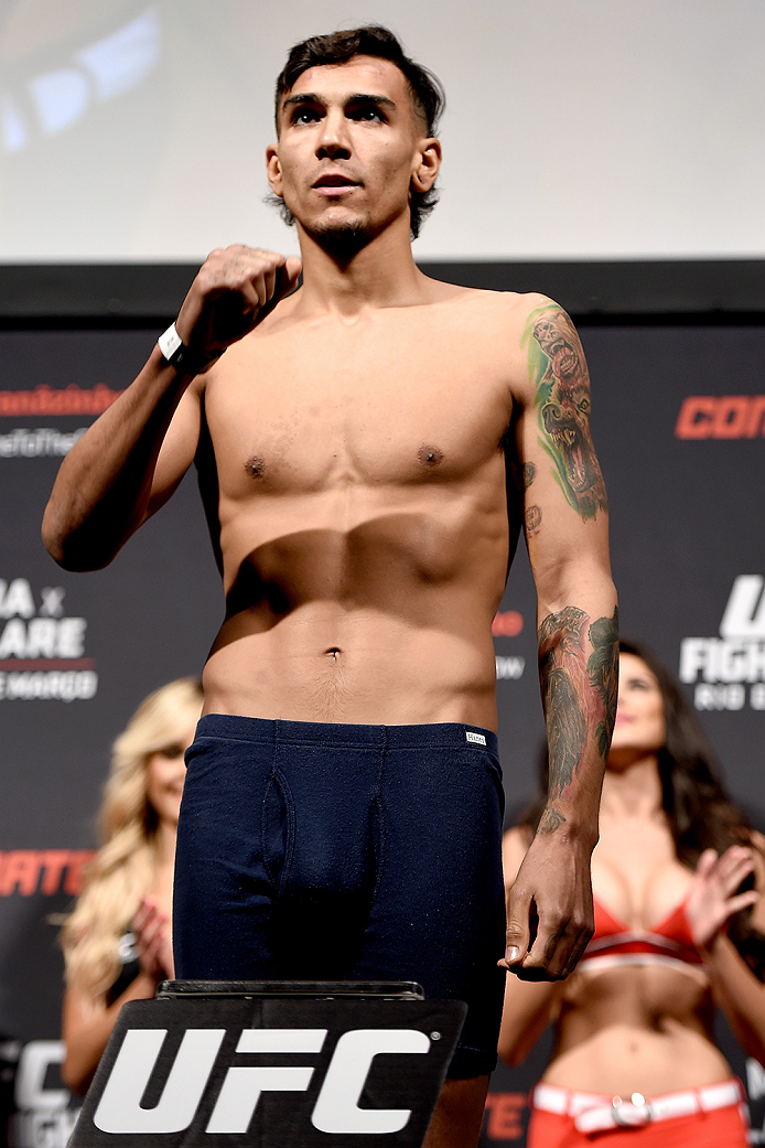 RIO DE JANEIRO, BRAZIL - MARCH 20: Andre Fili of United States  weighs in during the UFC Fight Night Weigh-ins at Maracanazinho  on March 20, 2015 in Rio de Janeiro, Brazil.  (Photo by Buda Mendes/Zuffa LLC/Zuffa LLC via Getty Images)